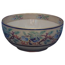 "American Satsuma Enameled Fruit & Floral Design Centerpiece Bowl (Signed ""C.W. Bloggett""/c.1910-1930)"