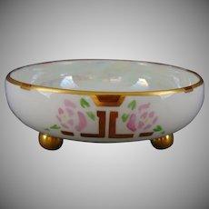 T&V Limoges Rose Design Footed Trinket Dish (Signed with a Bunny/c.1910-1930)