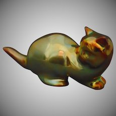Zsolnay Hungary Eosin Green Cat Figurine (c.1920-1940)