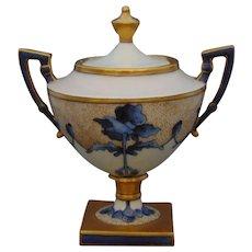 """T&V Limoges Blue Floral Design Sugar Bowl/Trinket Dish (Signed """"E.L.W.""""/Dated 1907)"""