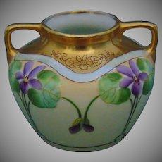 """Pickard Studios Violet Vase (Signed """"MP""""/c.1905-1910)"""