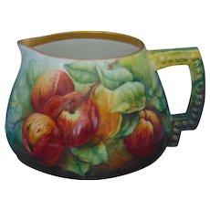 "Ceramic Art Company (CAC) Belleek (American) Apple Motif Cider/Lemonade Pitcher (Signed ""A.H. Phinney""/c.1899-1906)"