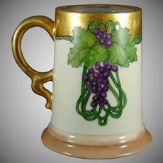 "Rosenthal Selb Bavaria Grape Motif Tankard/Mug (Signed ""L.M.H. March 3, 1915 Santa Maria, Cal."")"