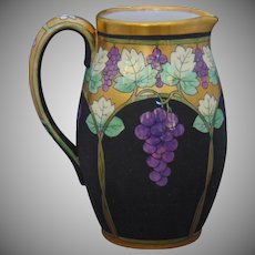 "Pickard Studios ""Lustre Grapes & Leaves"" Design Pitcher (Signed ""Hessler""/c.1905-1910)"
