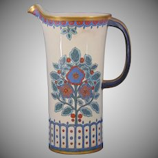 "American Satsuma Enameled Floral Motif Pitcher (Signed ""N.H. McCardell""/c.1910-1940) - Keramic Studio Design"