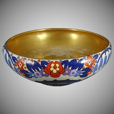 "American Satsuma Enameled Floral Design Bowl (Signed ""Thelma Douglas""/Dated 1927)"