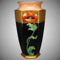 "B&Co. Limoges Poppy Motif Vase (Signed ""F.M.D.""/c.1914-1930)"