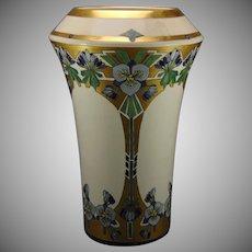 American Satsuma Enameled Blue Floral Design Vase (c.1915-1930)