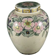 """American Satsuma Enameled Floral Motif Covered Jar/Tea Caddy (Signed """"F.E.C.""""/Dated 1915)"""