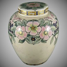 "American Satsuma Enameled Floral Motif Covered Jar/Tea Caddy (Signed ""F.E.C.""/Dated 1915)"