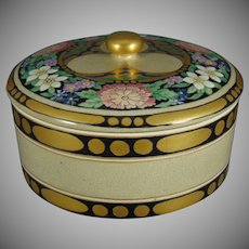 """American Satsuma Enameled Floral Design Covered Dish (Signed by Atlan Club Member/Artist """"S.G. Rintoul""""/Dated 1915)"""