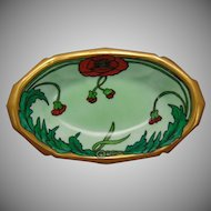 "Reinhold Schlegelmilch (RS) Germany Poppy Design Dish (Signed ""J.H.""/c.1910-1930)"
