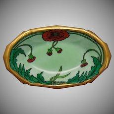 "Reinhold Schlegelmilch (RS) Germany Poppy Design Dish (Signed ""J.H.""/c.1910-1930)"