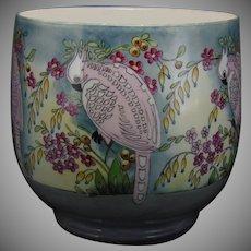 "WG&Co. Limoges Parrot & Floral ""Venetian Garden"" Design Jardinière/Vase (Signed ""E. Pollock""/Dated 1920) - Keramic Studio Design"