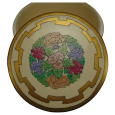"American Satsuma Enameled Floral Design Covered Jar/Box (Signed ""R.A.B.""/Dated 1920) - Keramic Studio Design"