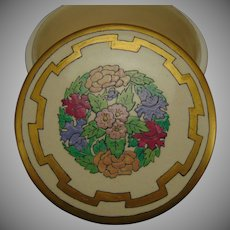 """American Satsuma Enameled Floral Design Covered Jar/Box (Signed """"R.A.B.""""/Dated 1920)"""
