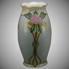 "MZ Altrohlau Czechoslovakia Floral Design Vase (Signed ""E.A. Greenhalgh""/c.1918-1936)"