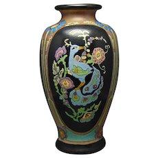 "American Satsuma Enameled Peacock Design Vase (Signed ""Jenny Peterson""/Dated 1926) - Keramic Studio Design"