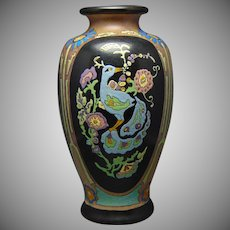 "American Satsuma Enameled Peacock Design Vase (Signed ""Jenny Peterson""/Dated 1926) - Keramic Studio Design"