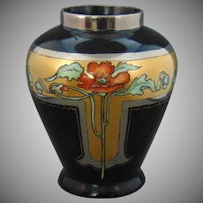 Royal Oepiag Czechoslovakia Poppy Motif Vase (Signed/c.1918-1936)