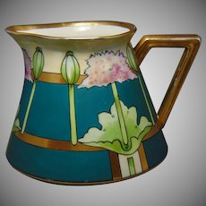 "White's Art Company Chicago B&Co. Limoges Poppy Design Cider/Lemonade Pitcher (Signed ""Blet""/c.1914-1923)"