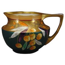 "Pickard Studios JP Limoges ""Yellow Cherries & Matte Green"" Design Pitcher (Signed ""Lind"" for Frederick Lindner/c.1905-1910)"