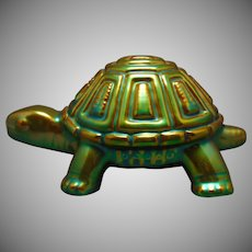Zsolnay Hungary Eosin Green Turtle Figurine