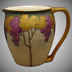 "Porcelain Blank Lustre Grape Design Pitcher (Signed ""G.H.B.""/c.1903-1920) - Keramic Studio Design"