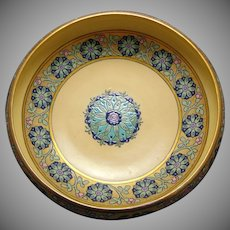 "Willets Belleek Enameled Floral Design Centerpiece Bowl (Signed ""LM""/Dated 1916)"