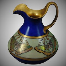 "Limoges ""Mark 6"" Butterfly Design Pitcher (Signed ""E.P. Crittenden""/c.1903-1930) - Keramic Studio Design"