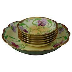 "J.H. Stouffer Company T&V Limoges ""Lavender & Red Irises"" Design Bowl Set (Signed/c.1905-1906)"
