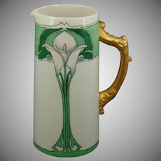 "Willets American Belleek Calla Lily Design Pitcher (Signed ""A. Armstrong""/c.1915-1930) - Keramic Studio Design"