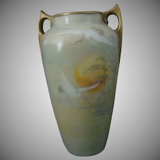"Bavaria ""Japanese Cranes"" Design Vase (Signed ""W.N. Leighty""/c.1915-1930) - Keramic Studio Design"
