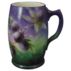 "Willets American Belleek Purple Plum Design Tankard/Mug (Signed ""B.M.A.""/Dated 1904)"