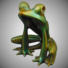 Zsolnay Hungary Arts Deco Large Eosin Green Frog Figurine (c.1930-1950)