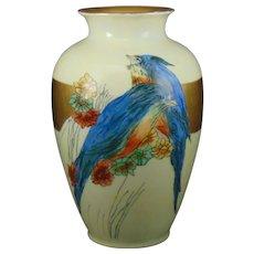 """Thomas Bavaria Bluebird Design Vase (Signed """"Catherine Kandlbinder Xmas 1925"""")"""