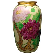 Pickard Studios Peony with Gold Whiplash Design Vase (c.1905)