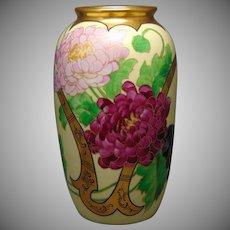 Pickard Studios Peony with Gold Whiplash Design Vase (c.1905)