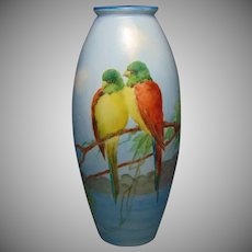 "Bernardaud & Co. (B&Co.) Limoges Tropical Bird Design Vase (Signed ""L. Wells""/c.1910-1930)"