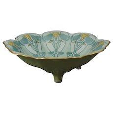 """A. Lanternier Limoges Nasturtium Design Footed Bowl (Signed """"Brown""""/Dated 1911)"""