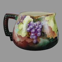 "Ceramic Art Company (CAC) Belleek (American) Grapes Design Cider/Lemonade Pitcher (Signed ""M.C.A.""/c.1899-1906)"