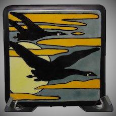 Paul Mueller (PM) Bavaria Geese & Moon Design Trivet/Tile (c.1916-1930) - Keramic Studio Design
