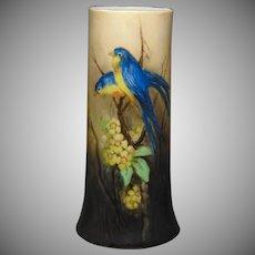 """B&Co. Limoges Bluebird Design Vase (Signed """"Viola Phillips""""/Dated March 1918)"""