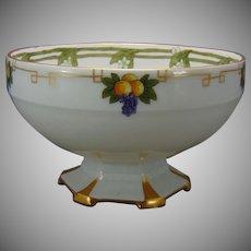 """Moritz Zdekauer (MZ) Altrohlau Austria Fruit Motif Pedestal Bowl (Signed """"M.G.""""/c.1900-1920)"""
