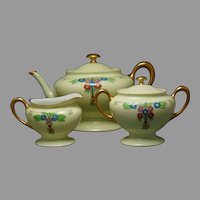 "RS Tillowitz Silesia Floral & Greek Key Design Teapot, Creamer & Sugar Set (Signed ""R.E.W.""/c.1904-1938)"
