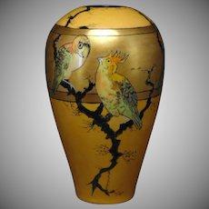 """Porcelain Blank Lustre Cockatoo Motif Vase (Signed """"C. Allison""""/c.1905-1930)"""
