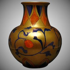 "Heinrich & Co. Selb Bavaria Gold Organic/Strawberry Motif Vase (Signed ""Sue Lambert""/c.1920-1940)"