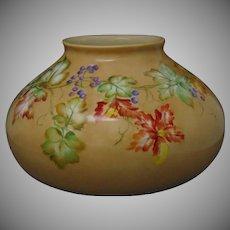 """Pfeiffer & Lowenstein Schlackenwerth Austria Wild Blueberry Motif Vase (Signed """"L. Tallman""""/Dated 1915)"""