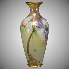 Julius H. Brauer Studio T&V Limoges Poppies & Gold Whiplash Design Vase (c.1910-1916)