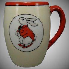"Porcelain Blank ""Peter Rabbit"" Design Small Mug/Cup (Signed ""EHM""/c.1905-1920) - Keramic Studio Design"